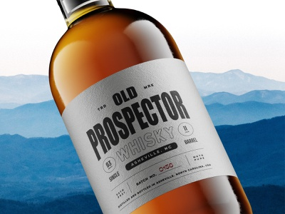 Prospector Bottle visual design brand design brand liquor whisky type vintage branding illustration icon design logo