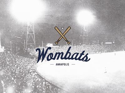 WOMBATS! type maryland annapolis design branding vector logo illustration team baseball