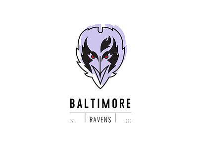Ravens maryland logo icon design vintage illustration illustrator football baltimore ravens nfl