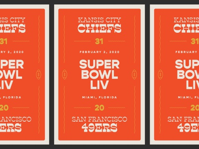 Super Bowl LIV type illustration logo icon nfl superbowl football branding typography vintage design poster