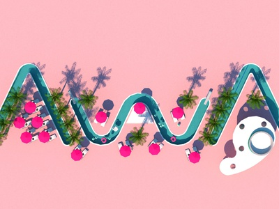 AwA logo top vray design typography 3d