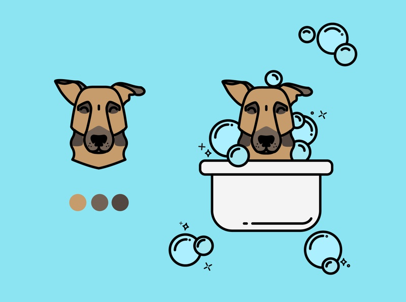 It's bath time! logo vector dog grooming branding bath tokto illustration icon dog