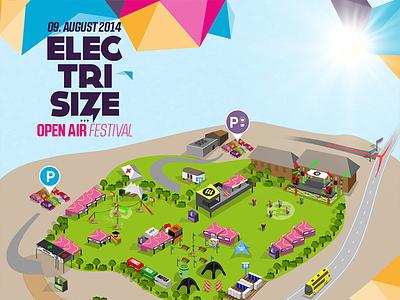 Festival Map - Electrisize map vector festival flyer esize electro electrisize festivalmap drawed color cmyk