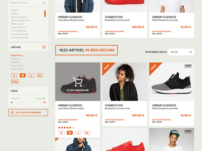 SNIPES Screen Redesign view products product orange love ux ui shop snipes redesign