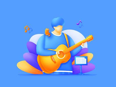 P01_Guitarist_Blue noise illustration