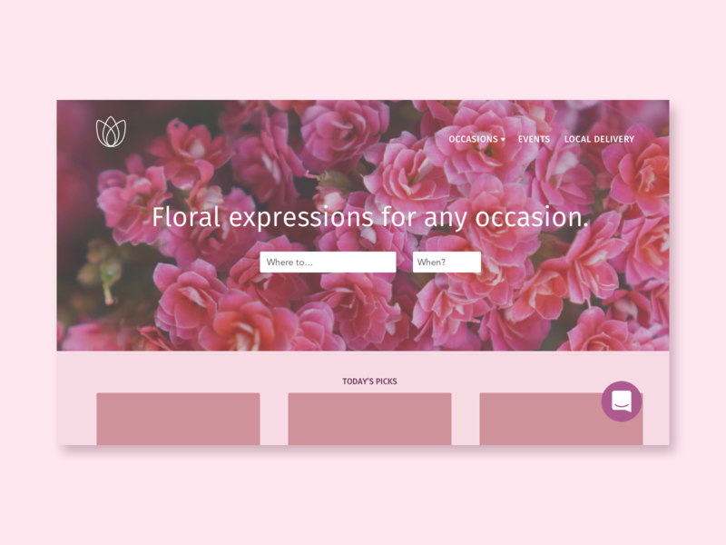 Flowers-R-Us yay pink florist flower shop uid landing page concept