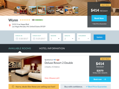 Search and Listing Results for Travel Site