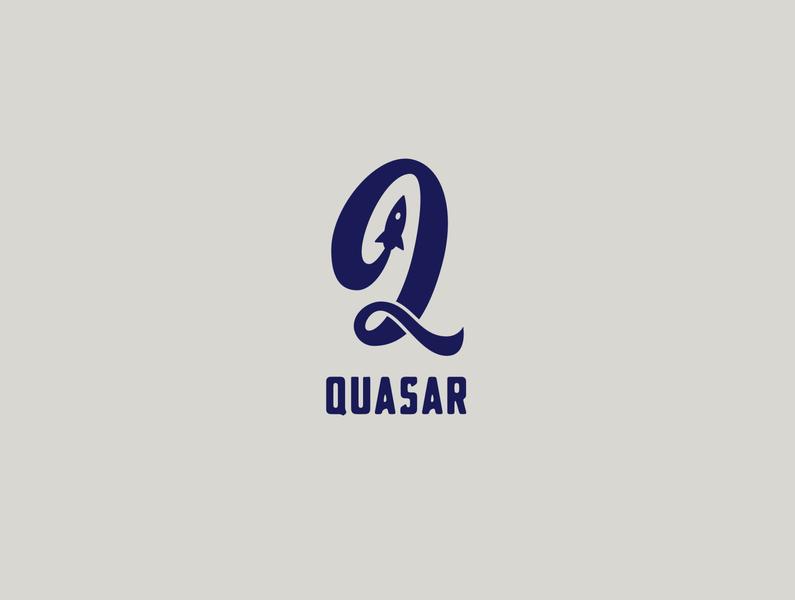 Kinda Daily Logo Challenge 001: Quasar Rocketship quasar rocketship logo rocketship q badge type lettering illustration icon typography vector logo branding design flat daily logo challenge dailylogochallenge