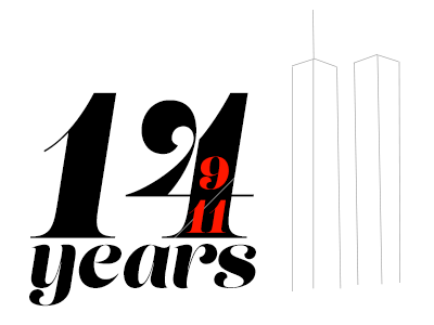 14 years. Twin Towers. Remember. geometrical clean lines type