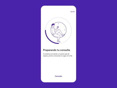 Waiting room - Sofía ux ui animation ui transition mobile minimal interface insurance illustration animation illustration health gif digital design clean app animation