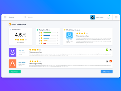 Product Review ui design review product review