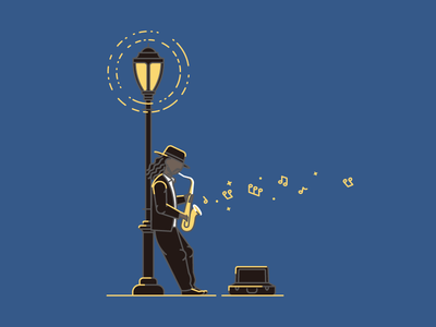 New Yorker music lamp street newyork blues sax