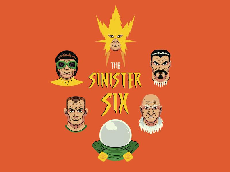 The Sinster Six sandman octopus doc vulture electro mysterio kraven spider-man marvel design vector illustration