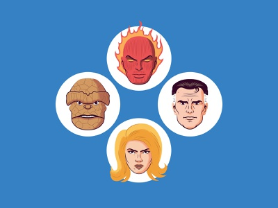 Fantastic Four reed richards human torch sue storm the thing ben grimm fantastic four vector sticker illustration