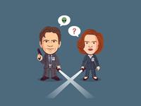 Mulder & Scully scully mulder x-files caracter design design sticker illustration