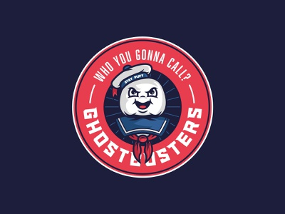 Ghostbusters badge marshmallow staypuft ghostbusters sticker logo badge illustration