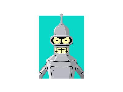 Bender futurama vector illustration