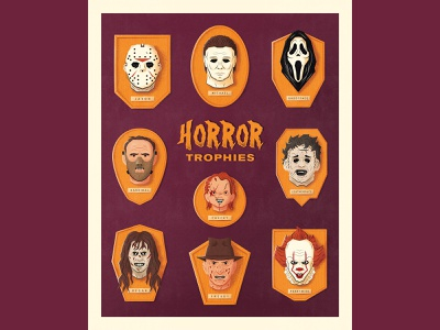 Horror Trophies ghostface scream hannibal the exorcist michael myers chucky freddy jason voorhees poster horror vector illustration