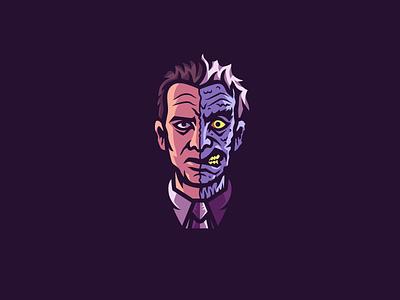 Two-Face harvey dent sticker two-face batman badge illustration