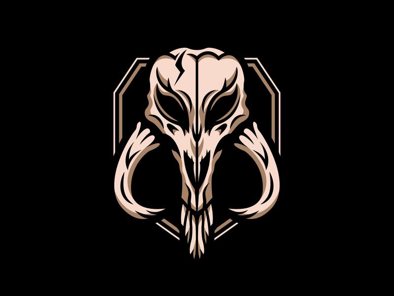 Mythosaur skull skull mythosaur mandalorian star wars logo badge illustration