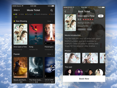 Movie App movie now showing popular area search more book ticket 3d photo introduction