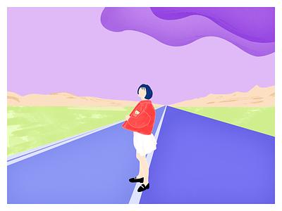 On the road cloud mountain grassland sky ui illustration design girl illustration
