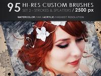 95 Hi-Res Custom Brushes - Strokes & Splatters