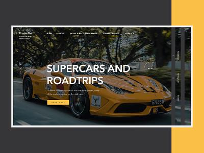 Super Cars and Hotels Blog WordPress Web Design herosection supercars blog cars ux design ui web webdesign