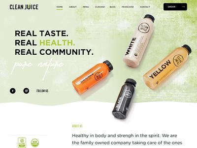 Clean Juice Website webdesign website web fruits vegetables health bowls juice
