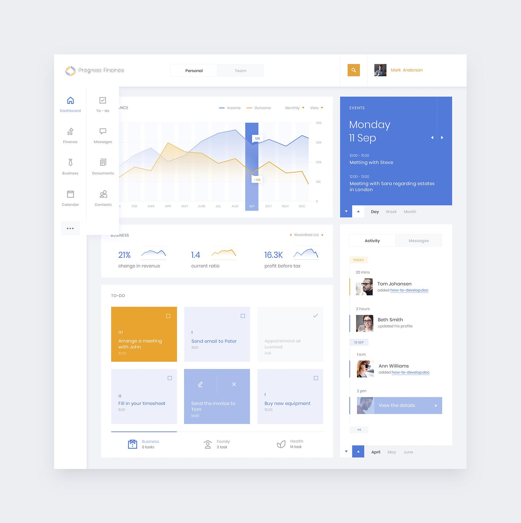 Finance dashboard menu x1