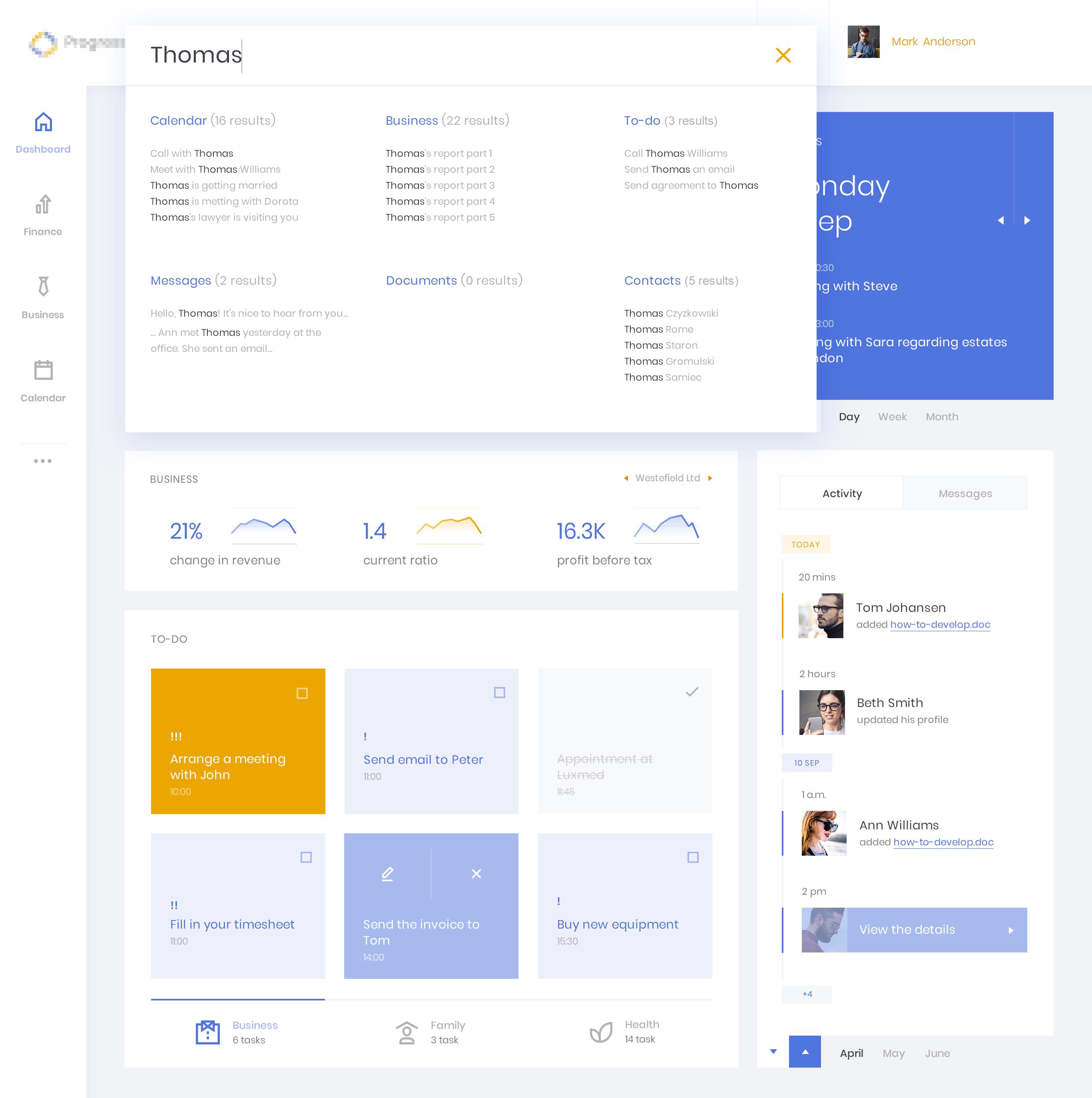 Finance dashboard search x2
