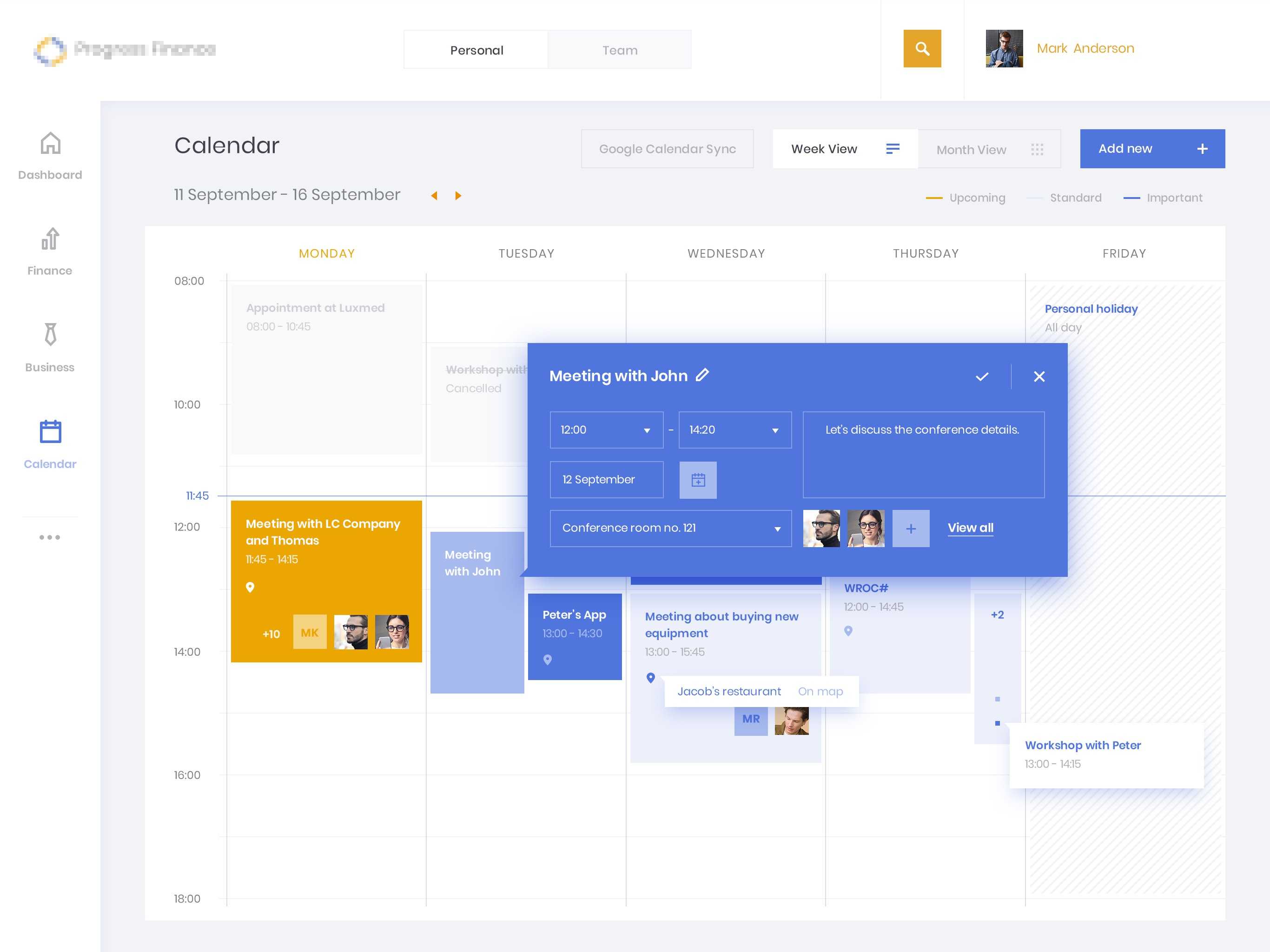 Finance calendar add