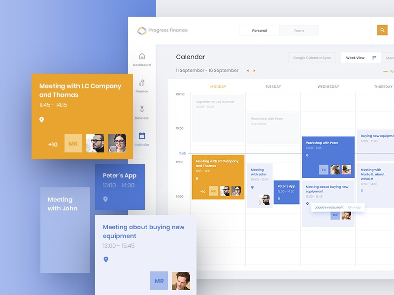 Finance App Calendar karbowska objectivity calendar app business finance ux ui dashboard