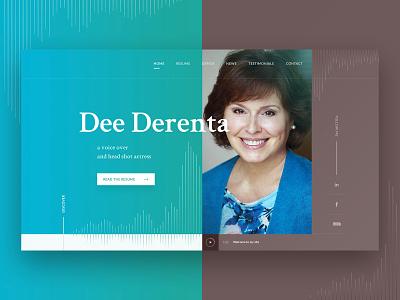 Dee Derenta - the voice over artist webdesign voice over artist hero image hero section brown teal web webdesign design