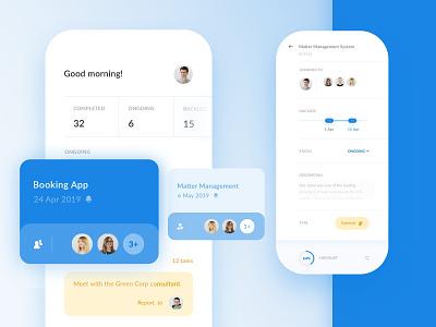 Team Management App - Dashboard, Project details dashboard projects tasks to-do list to-do management team objectivity app ux ui