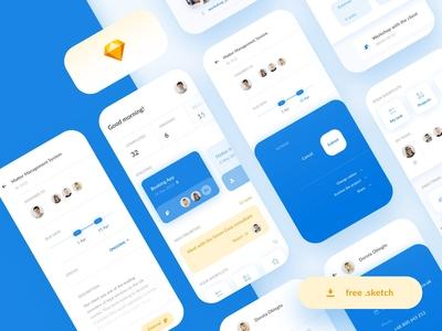 Team Management Sketch App - Freebie