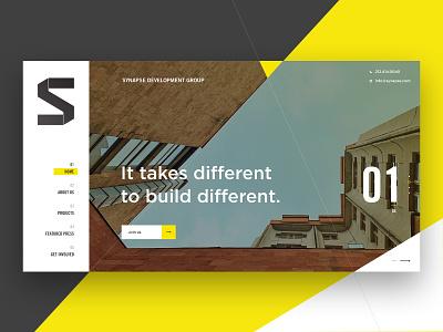 Website Mockup for Synapse - Rethink Real Estate investors investments development architecture webdesign web website real estate