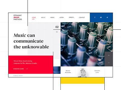 Film Music Composers Website piet mondrian film composer music web webdesign ui ux design