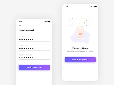 Reset Password Screen illustraion update password change password reset password points ios gradient clean key