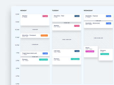 Schedule redesign concept category management time available documentation date gap calendar timeline events agenda meeting planning table schedule card ui dailyui uxdiary