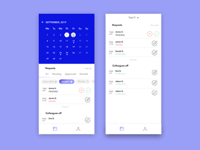 Vacation Manager pending calendar mobile app design uxdesign managingemployees requests uxdiary dailyui ui design