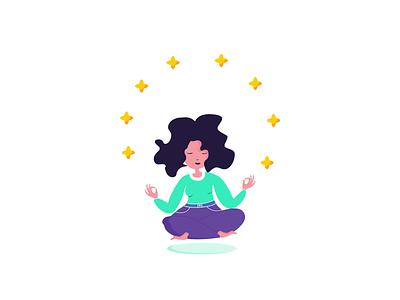 meditation calm stars zen meditation woman design vector uxdiary illustration