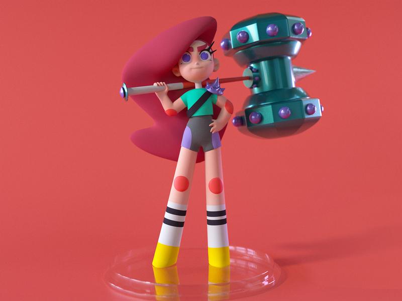 Hammer girl illustration c4d