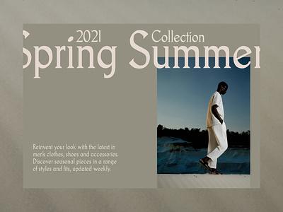 Spring Summer Collection grid layout website interface cream uiux ui whitespace typogaphy minimalist minimal editorial