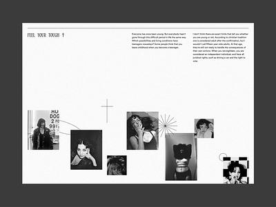 Feel your tough texture animation gothic blackandwhite uiux ui website design grid whitespace minimalist minimal editorial