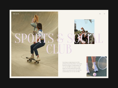 The Club design cool summer uxui website design ui layout grid minimalist whitespace minimal editorial