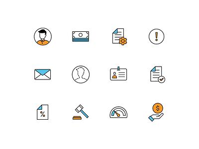 Icon set pixel perfect branding icons ui color sketch illustrator fintech finance money blue orange icon set icondesign icon