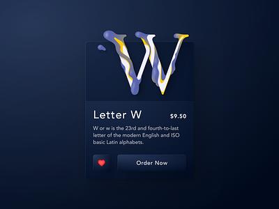 Letter W ui designer designer interface designer interface design interface lettering typogaphy soft ui dark blue concept ecommerce shop letter figma user interface design user inteface uidesign ui card