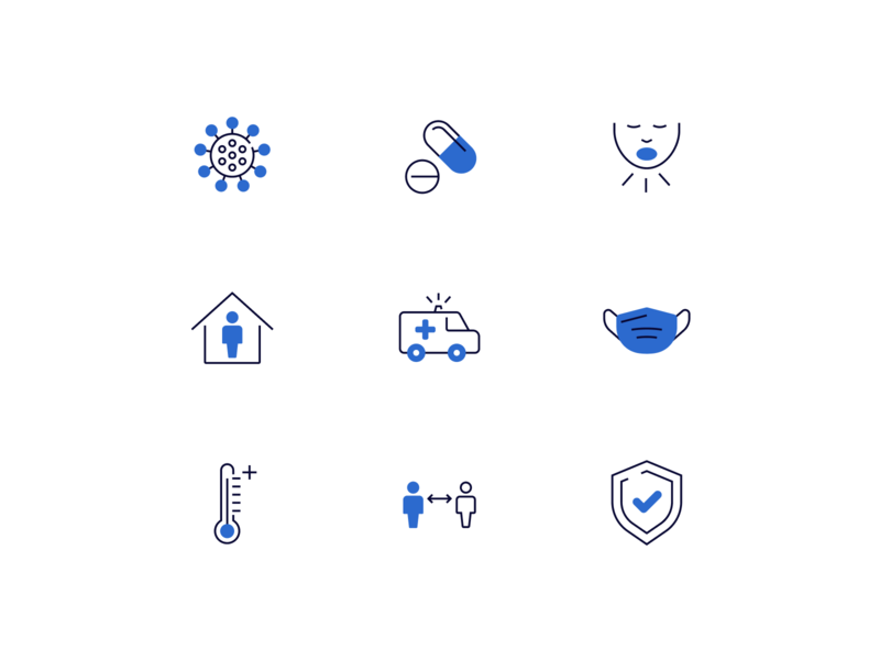 Health icon set, Covid-19 version healthcare healthy health security safe virus ambulance mask icons pack ui icon design iconography figma covid-19 covid covid19 icons icon set icon blue