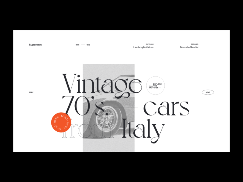 Vintage 70's cars — Website concept typography vintage car grid concept photos web design layout minimal ui